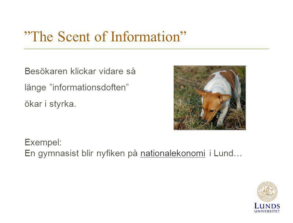 The Scent of Information Besökaren klickar vidare så länge informationsdoften ökar i styrka.