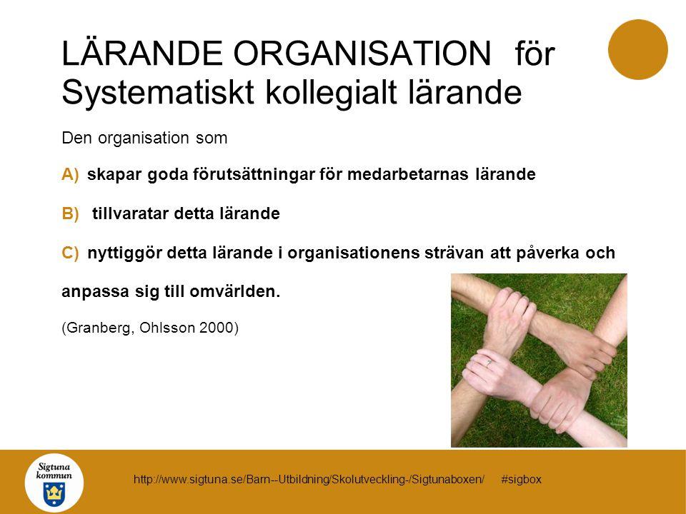 LÄRANDE ORGANISATION för Systematiskt kollegialt lärande Den organisation som A)skapar goda förutsättningar för medarbetarnas lärande B) tillvaratar d