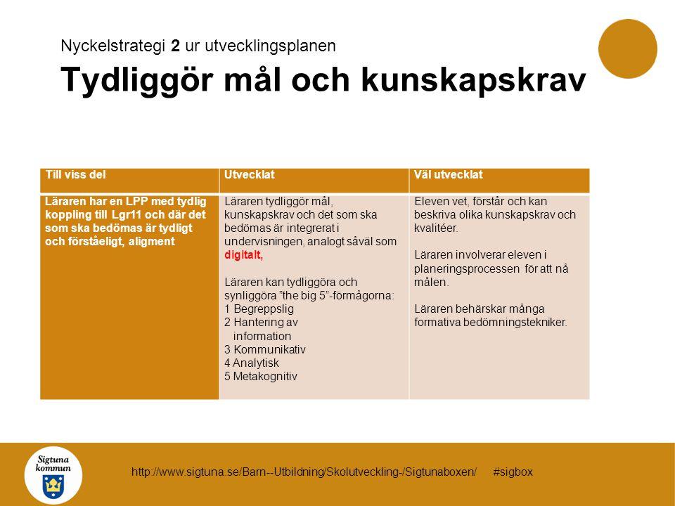 Nyckelstrategi 2 ur utvecklingsplanen Tydliggör mål och kunskapskrav Till viss delUtvecklatVäl utvecklat Läraren har en LPP med tydlig koppling till L