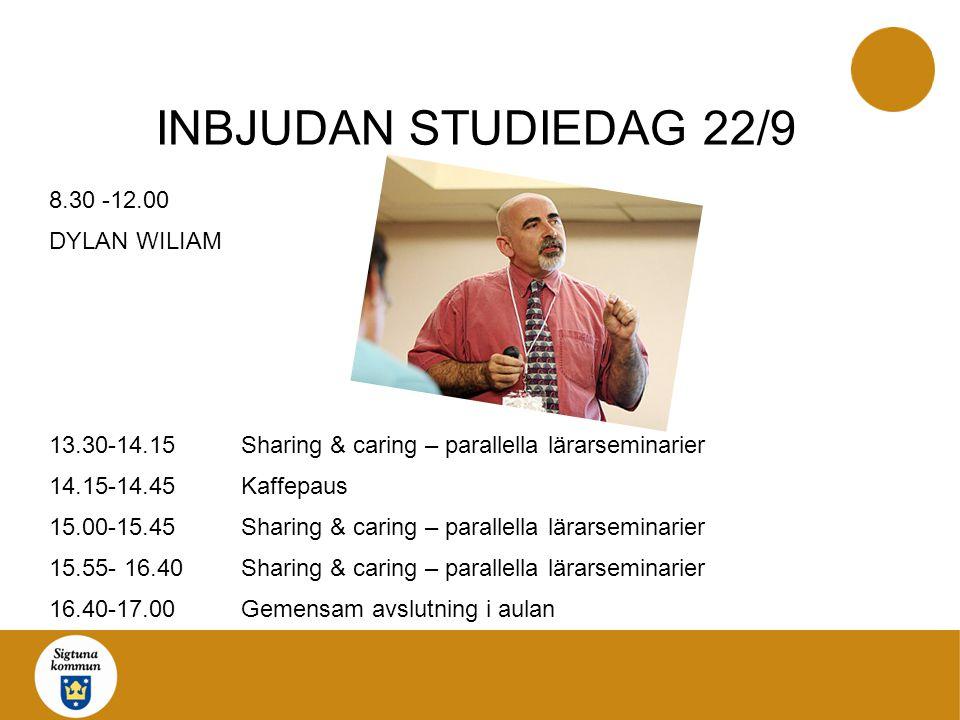 INBJUDAN STUDIEDAG 22/9 8.30 -12.00 DYLAN WILIAM 13.30-14.15Sharing & caring – parallella lärarseminarier 14.15-14.45Kaffepaus 15.00-15.45Sharing & ca