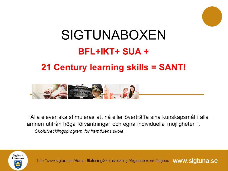 """www.sigtuna.se SIGTUNABOXEN BFL+IKT+ SUA + 21 Century learning skills = SANT! """"Alla elever ska stimuleras att nå eller överträffa sina kunskapsmål i a"""
