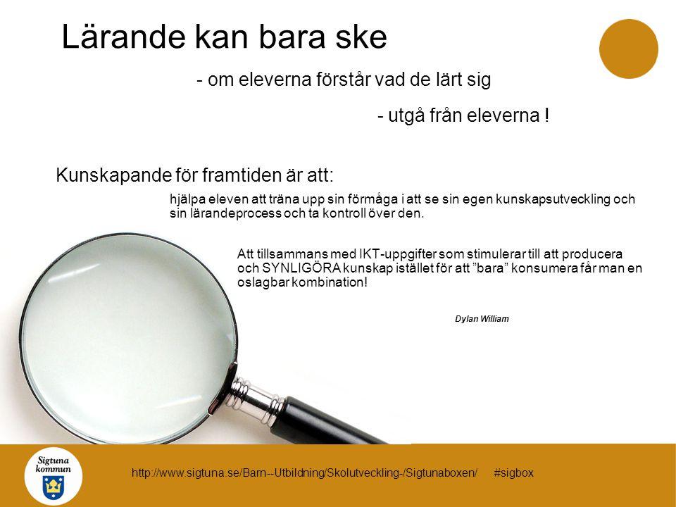 BFL = Bedömning för lärande förhållningssättet IKT = Informations- och kommunikationsteknik verktyget SUA = Språkutvecklande arbetssätt förutsättningen http://www.sigtuna.se/Barn--Utbildning/Skolutveckling-/Sigtunaboxen/ #sigbox