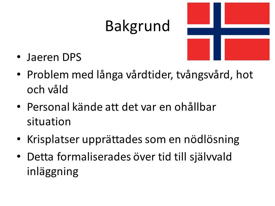 Självvald inläggning i Norge Målgrupp: psykospatienter Förebygga sämre mående Kontrakt skrivs med patienten Enklare inläggning på heldygnsvården med inskrivning av sjuksköterska