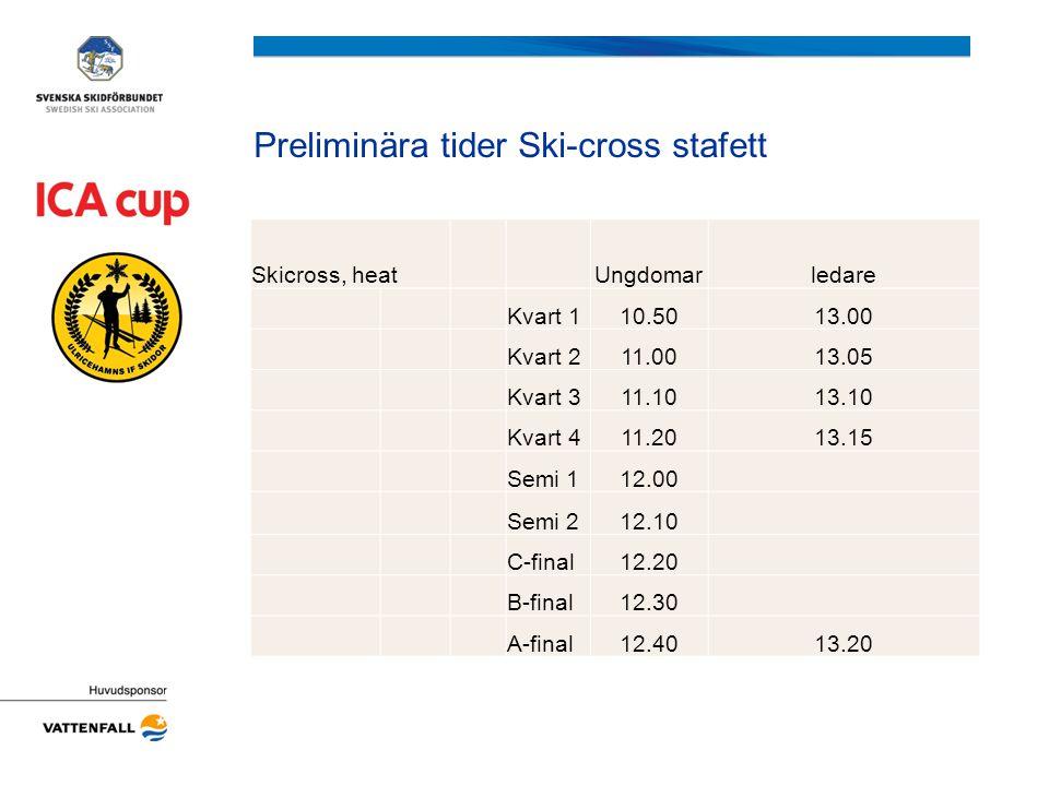 Preliminära tider Ski-cross stafett Skicross, heat Ungdomarledare Kvart 110.5013.00 Kvart 211.0013.05 Kvart 311.1013.10 Kvart 411.2013.15 Semi 112.00 Semi 212.10 C-final12.20 B-final12.30 A-final12.4013.20