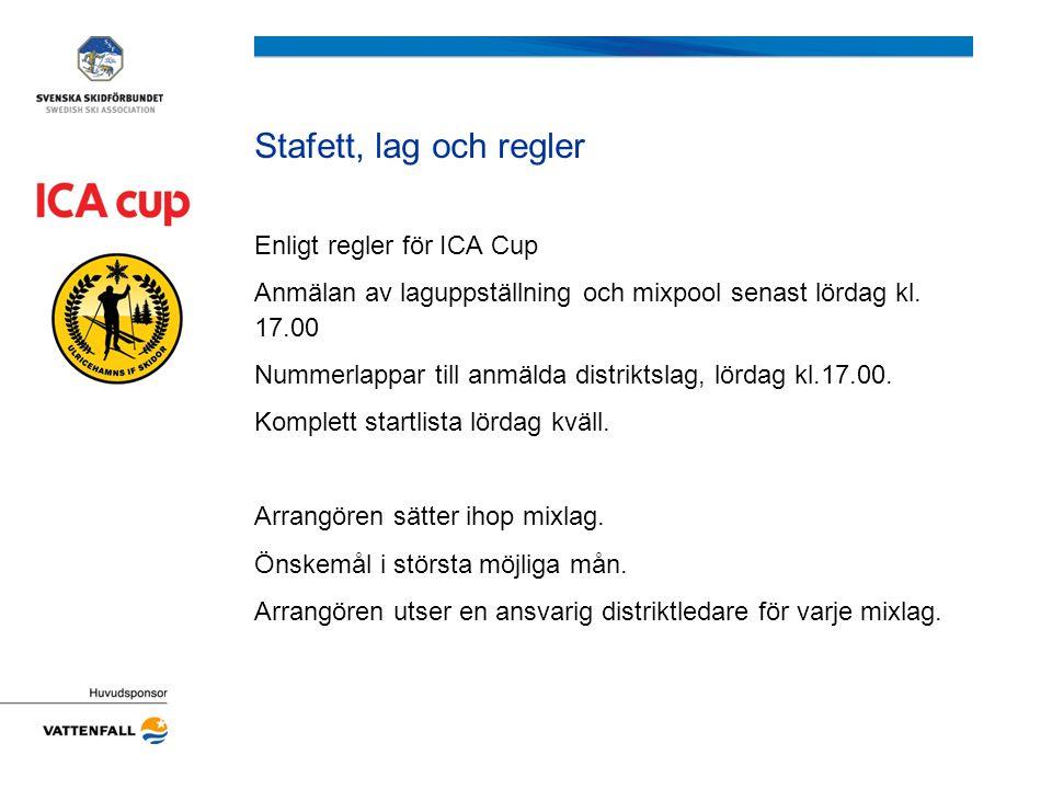 Stafett, lag och regler Enligt regler för ICA Cup Anmälan av laguppställning och mixpool senast lördag kl.