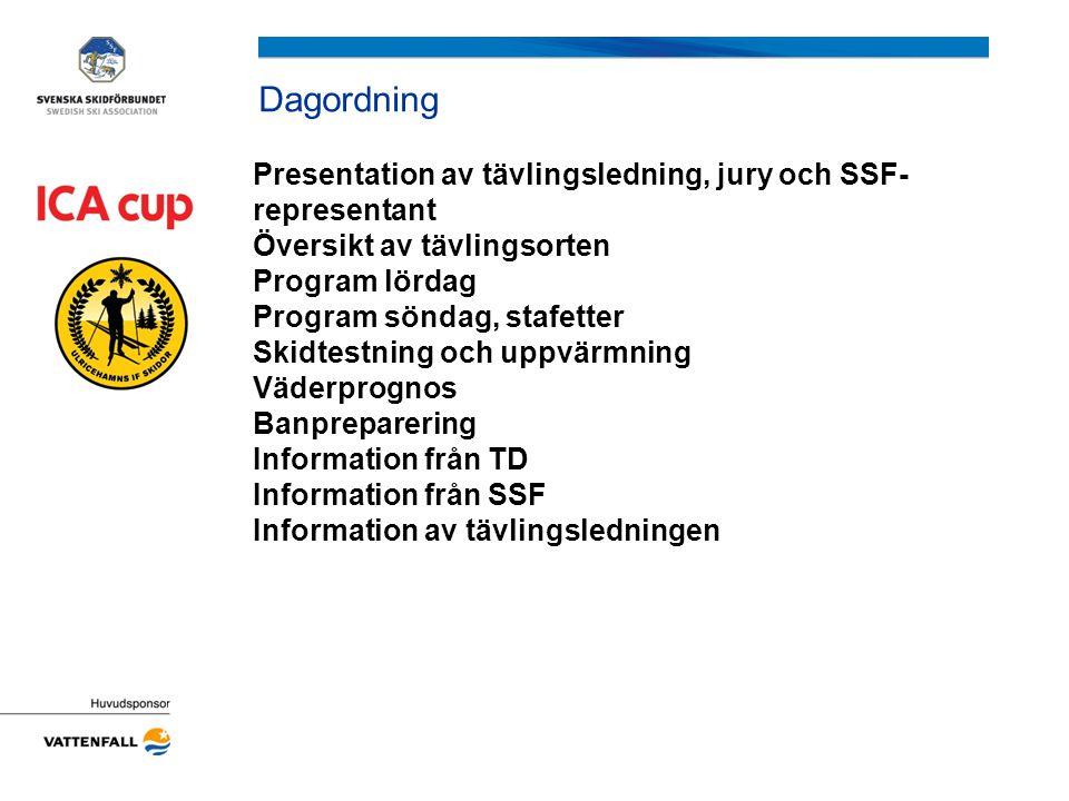 Dagordning Presentation av tävlingsledning, jury och SSF- representant Översikt av tävlingsorten Program lördag Program söndag, stafetter Skidtestning och uppvärmning Väderprognos Banpreparering Information från TD Information från SSF Information av tävlingsledningen
