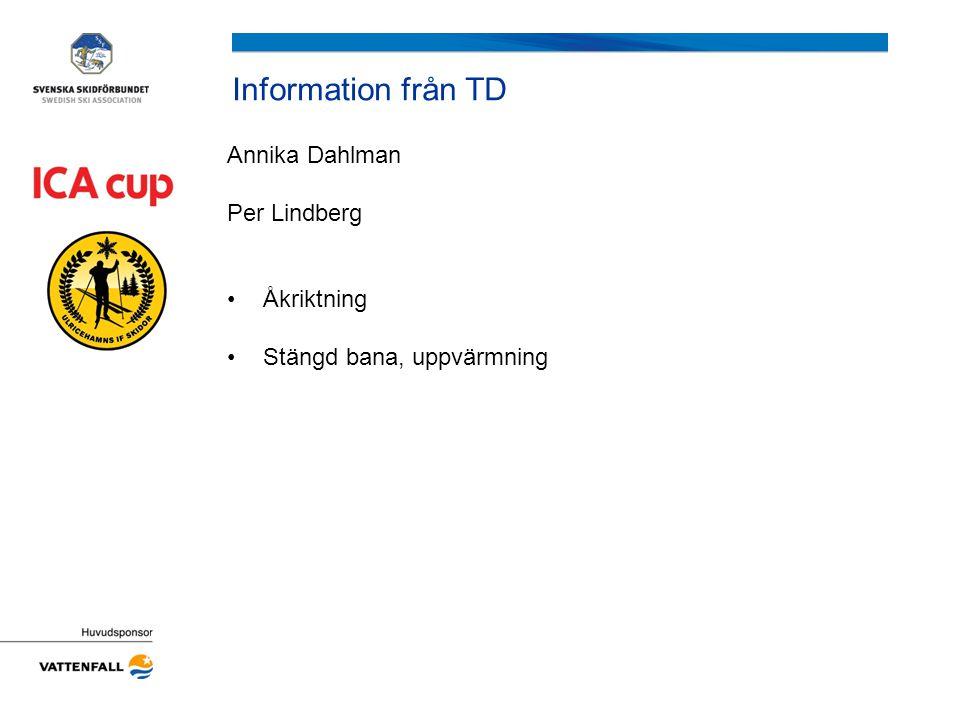 Information från TD Annika Dahlman Per Lindberg Åkriktning Stängd bana, uppvärmning