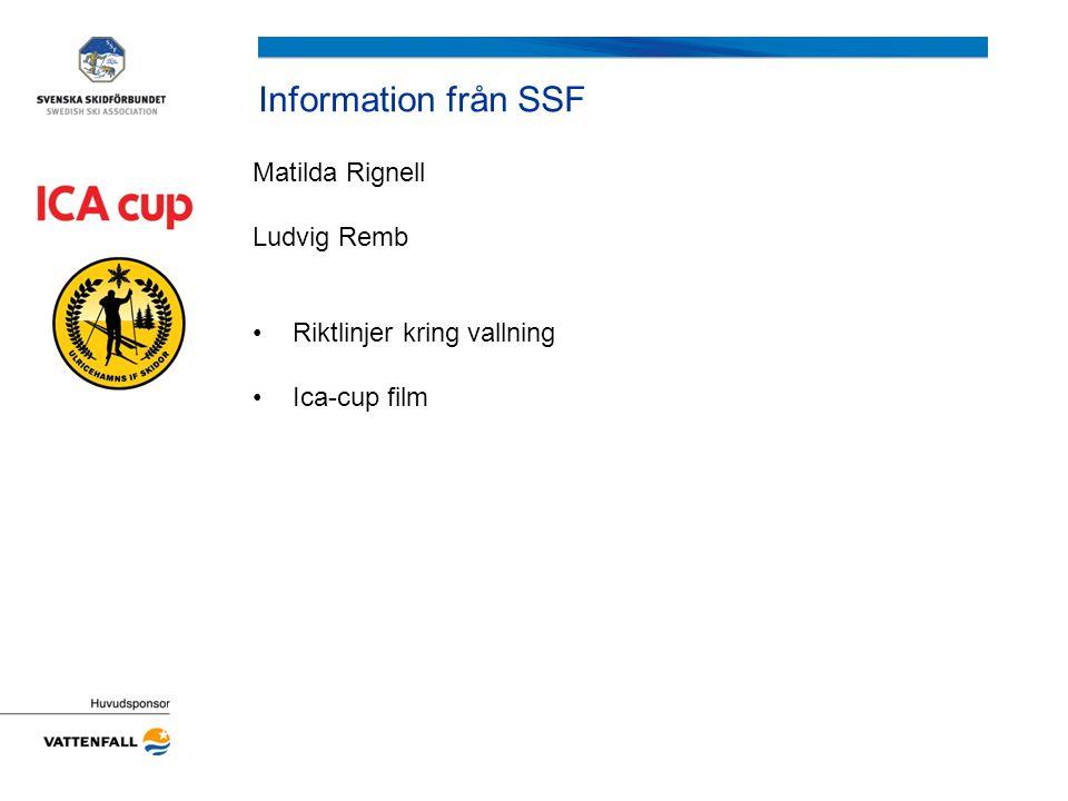 Information från SSF Matilda Rignell Ludvig Remb Riktlinjer kring vallning Ica-cup film