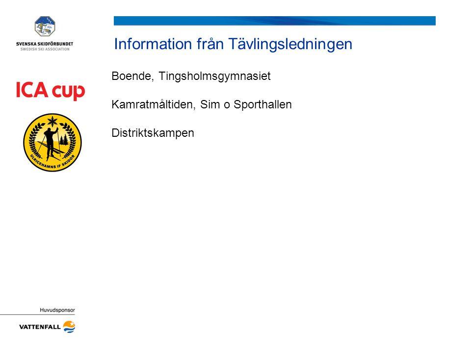 Information från Tävlingsledningen Boende, Tingsholmsgymnasiet Kamratmåltiden, Sim o Sporthallen Distriktskampen
