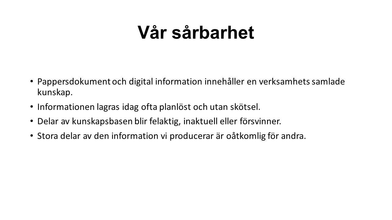 Vår sårbarhet Pappersdokument och digital information innehåller en verksamhets samlade kunskap. Informationen lagras idag ofta planlöst och utan sköt