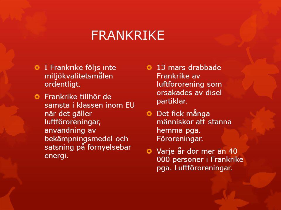 FRANKRIKE  I Frankrike följs inte miljökvalitetsmålen ordentligt.