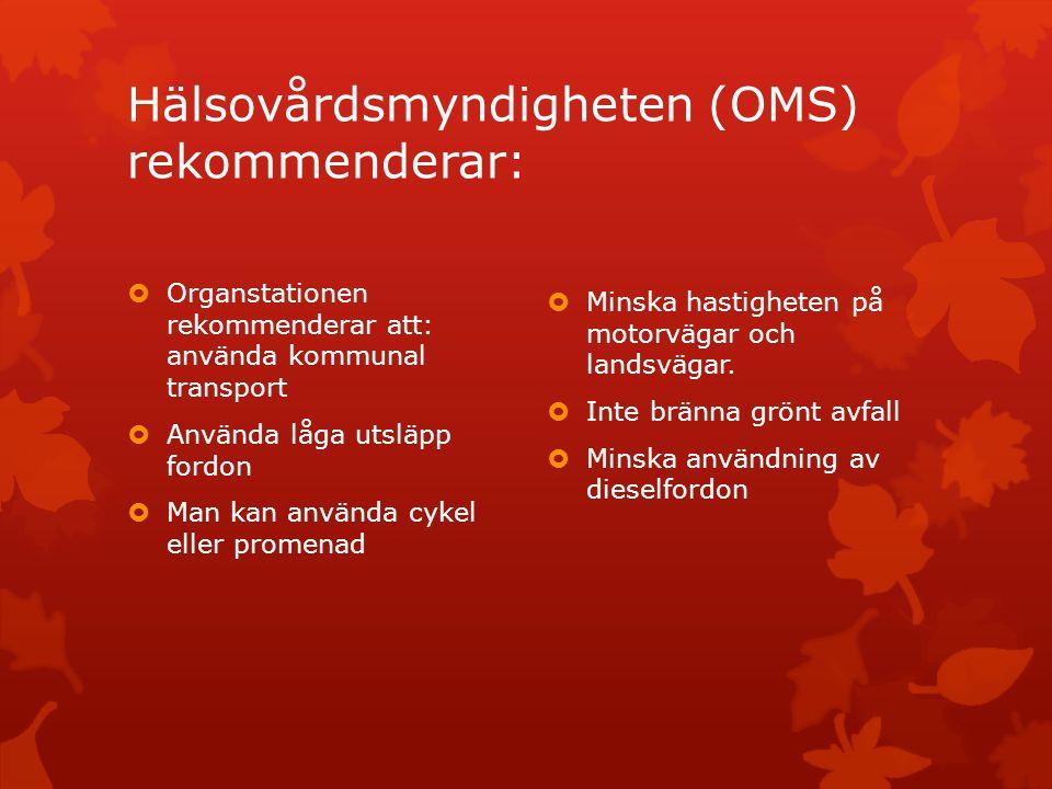 Hälsovårdsmyndigheten (OMS) rekommenderar:  Organstationen rekommenderar att: använda kommunal transport  Använda låga utsläpp fordon  Man kan använda cykel eller promenad  Minska hastigheten på motorvägar och landsvägar.
