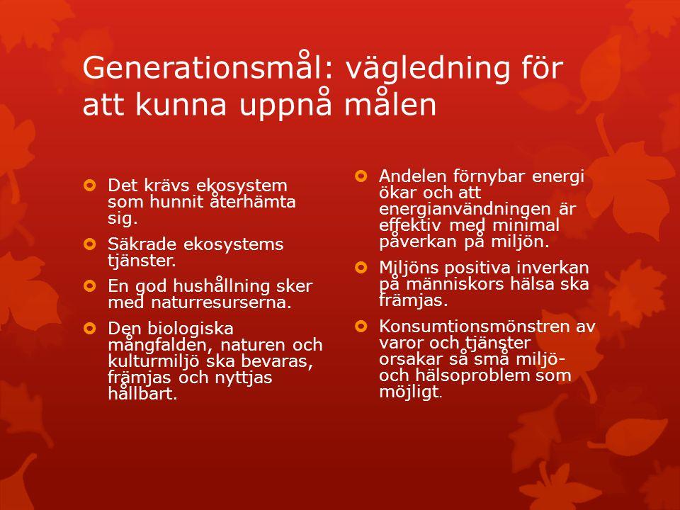 Generationsmål: vägledning för att kunna uppnå målen  Det krävs ekosystem som hunnit återhämta sig.  Säkrade ekosystems tjänster.  En god hushållni