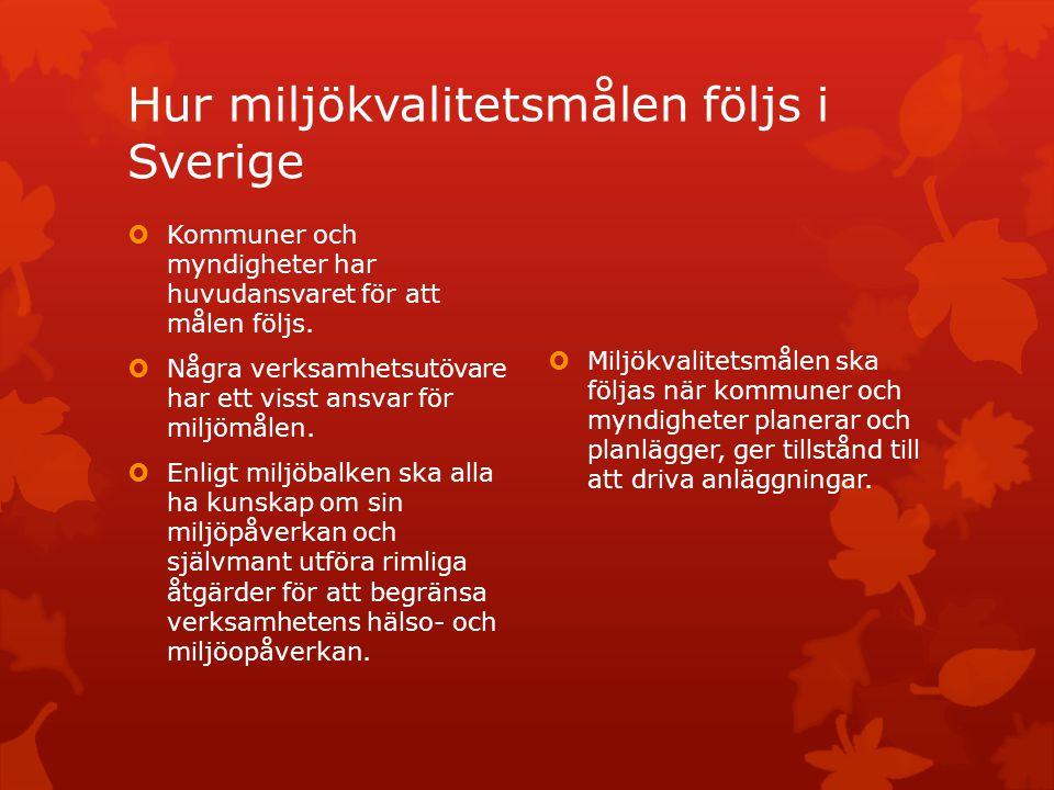 Hur miljökvalitetsmålen följs i Sverige  Kommuner och myndigheter har huvudansvaret för att målen följs.  Några verksamhetsutövare har ett visst ans