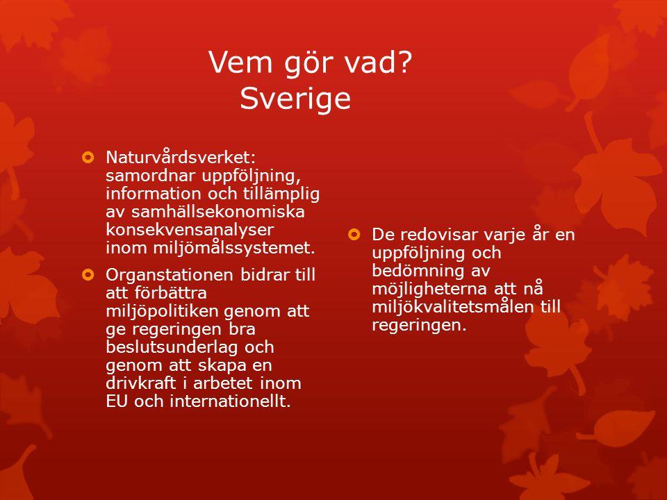 Vem gör vad? Sverige  Naturvårdsverket: samordnar uppföljning, information och tillämplig av samhällsekonomiska konsekvensanalyser inom miljömålssyst