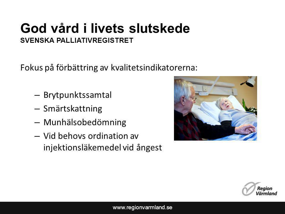 www.regionvarmland.se God vård i livets slutskede SVENSKA PALLIATIVREGISTRET Fokus på förbättring av kvalitetsindikatorerna: – Brytpunktssamtal – Smär