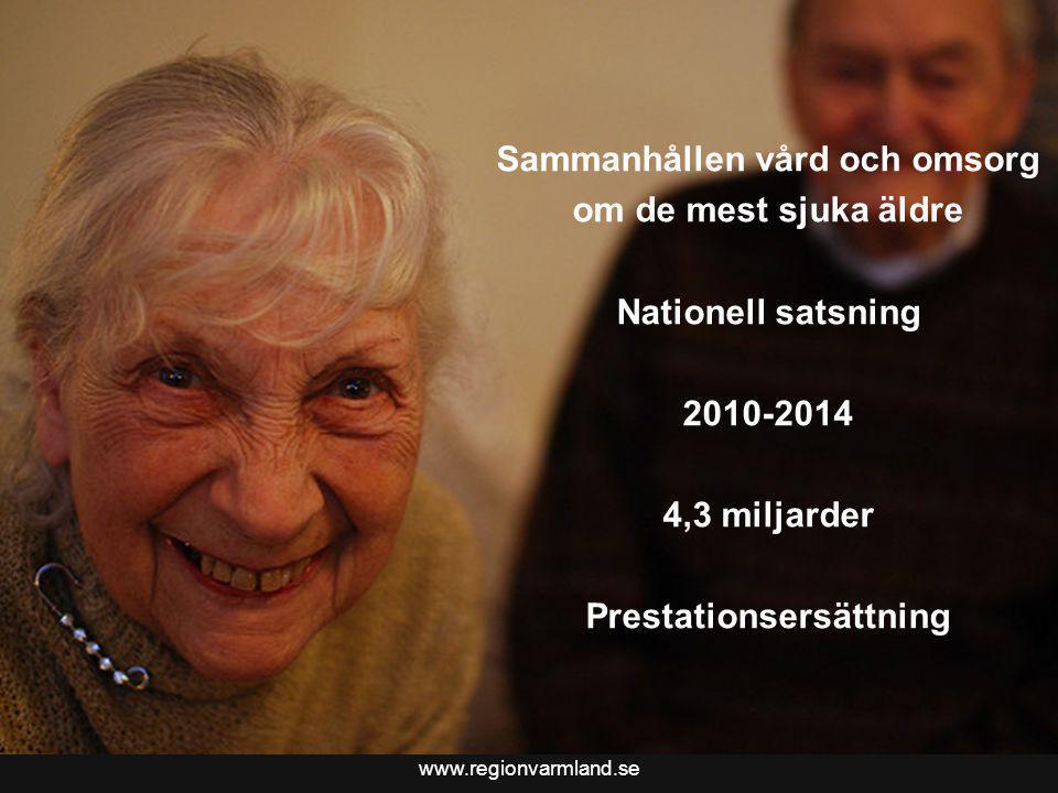 www.regionvarmland.se Bättre liv för sjuka äldre i Värmland Sammanhållen vård och omsorg om de mest sjuka äldre Nationell satsning 2010-2014 4,3 milja