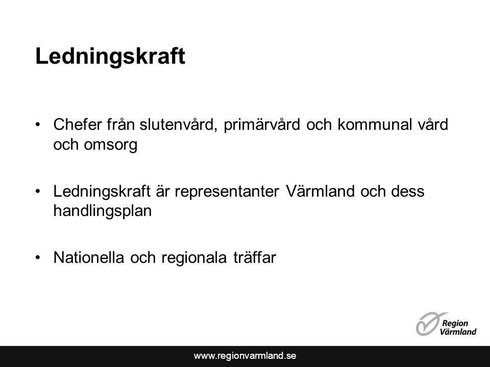 www.regionvarmland.se Ledningskraft Chefer från slutenvård, primärvård och kommunal vård och omsorg Ledningskraft är representanter Värmland och dess