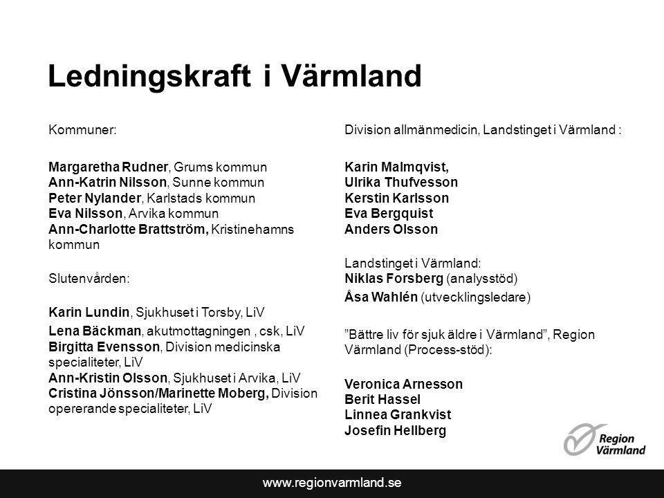 www.regionvarmland.se Ledningskraft i Värmland Kommuner: Margaretha Rudner, Grums kommun Ann-Katrin Nilsson, Sunne kommun Peter Nylander, Karlstads ko