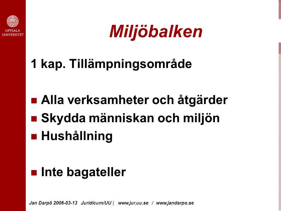 Jan Darpö 2006-03-13 Juridicum/UU | www.jur.uu.se / www.jandarpo.se Miljöbalken 1 kap.