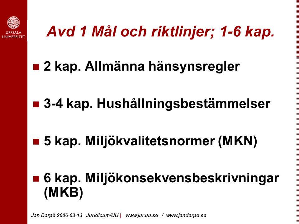 Jan Darpö 2006-03-13 Juridicum/UU | www.jur.uu.se / www.jandarpo.se Avd 1 Mål och riktlinjer; 1-6 kap.