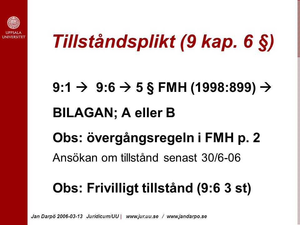 Jan Darpö 2006-03-13 Juridicum/UU | www.jur.uu.se / www.jandarpo.se Tillståndsplikt (9 kap.