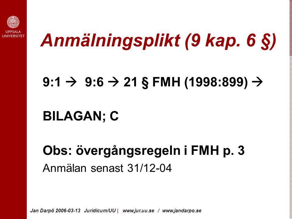 Jan Darpö 2006-03-13 Juridicum/UU | www.jur.uu.se / www.jandarpo.se Anmälningsplikt (9 kap.
