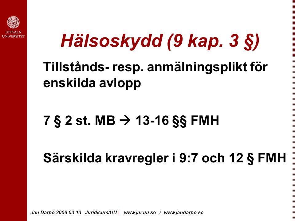 Jan Darpö 2006-03-13 Juridicum/UU | www.jur.uu.se / www.jandarpo.se Hälsoskydd (9 kap.