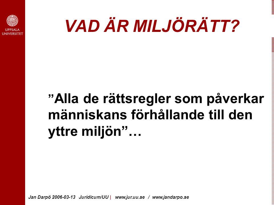 Jan Darpö 2006-03-13 Juridicum/UU | www.jur.uu.se / www.jandarpo.se VAD ÄR MILJÖRÄTT.