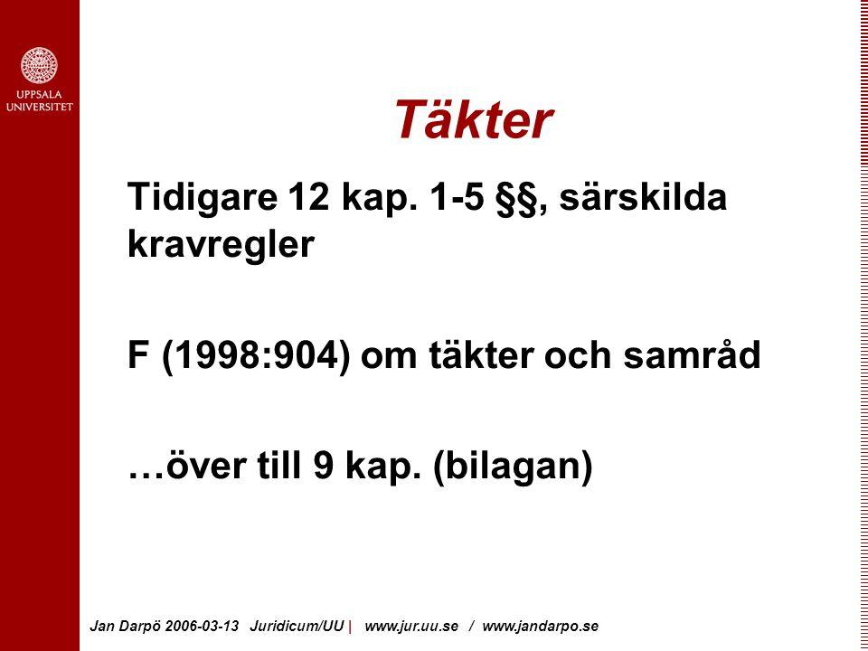 Jan Darpö 2006-03-13 Juridicum/UU | www.jur.uu.se / www.jandarpo.se Täkter Tidigare 12 kap.