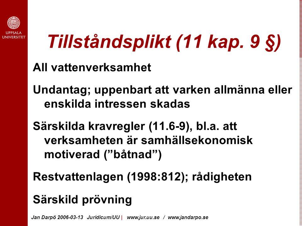 Jan Darpö 2006-03-13 Juridicum/UU | www.jur.uu.se / www.jandarpo.se Tillståndsplikt (11 kap.