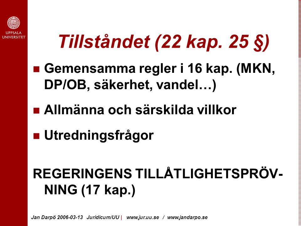 Jan Darpö 2006-03-13 Juridicum/UU | www.jur.uu.se / www.jandarpo.se Tillståndet (22 kap.