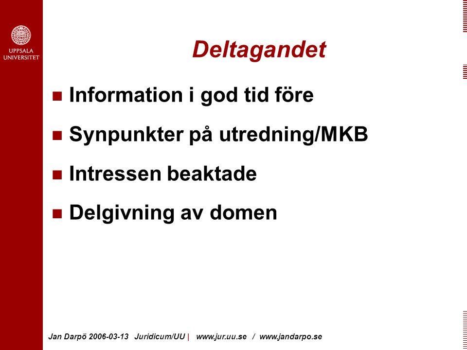 Jan Darpö 2006-03-13 Juridicum/UU | www.jur.uu.se / www.jandarpo.se Deltagandet Information i god tid före Synpunkter på utredning/MKB Intressen beaktade Delgivning av domen