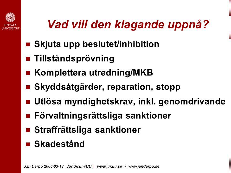 Jan Darpö 2006-03-13 Juridicum/UU | www.jur.uu.se / www.jandarpo.se Vad vill den klagande uppnå.