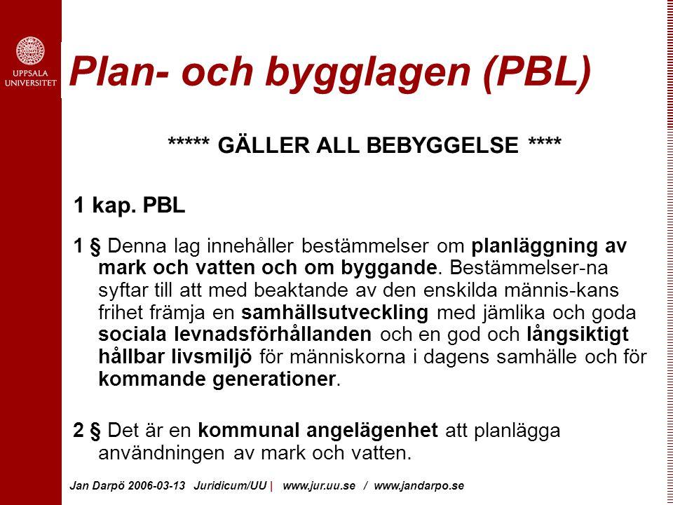 Jan Darpö 2006-03-13 Juridicum/UU | www.jur.uu.se / www.jandarpo.se Plan- och bygglagen (PBL) ***** GÄLLER ALL BEBYGGELSE **** 1 kap.