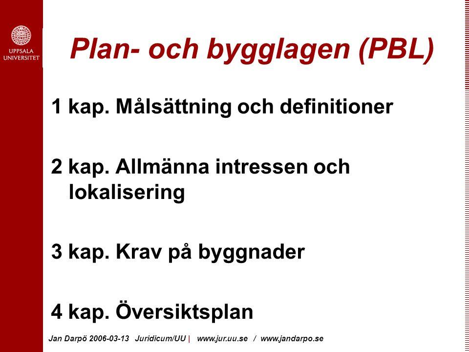 Jan Darpö 2006-03-13 Juridicum/UU | www.jur.uu.se / www.jandarpo.se Plan- och bygglagen (PBL) 1 kap.