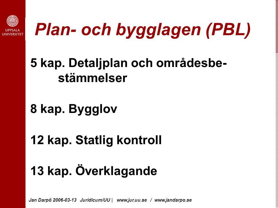 Jan Darpö 2006-03-13 Juridicum/UU | www.jur.uu.se / www.jandarpo.se Plan- och bygglagen (PBL) 5 kap.