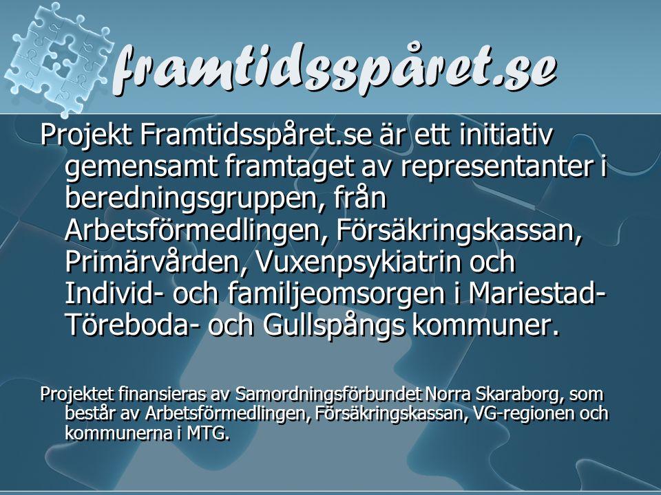 framtidsspåret.se Projekt Framtidsspåret.se är ett initiativ gemensamt framtaget av representanter i beredningsgruppen, från Arbetsförmedlingen, Försä