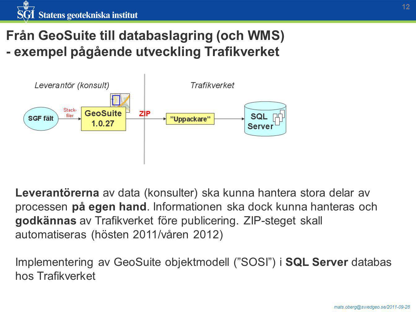 mats.oberg@swedgeo.se/2011-09-28 Från GeoSuite till databaslagring (och WMS) - exempel pågående utveckling Trafikverket Leverantörerna av data (konsul