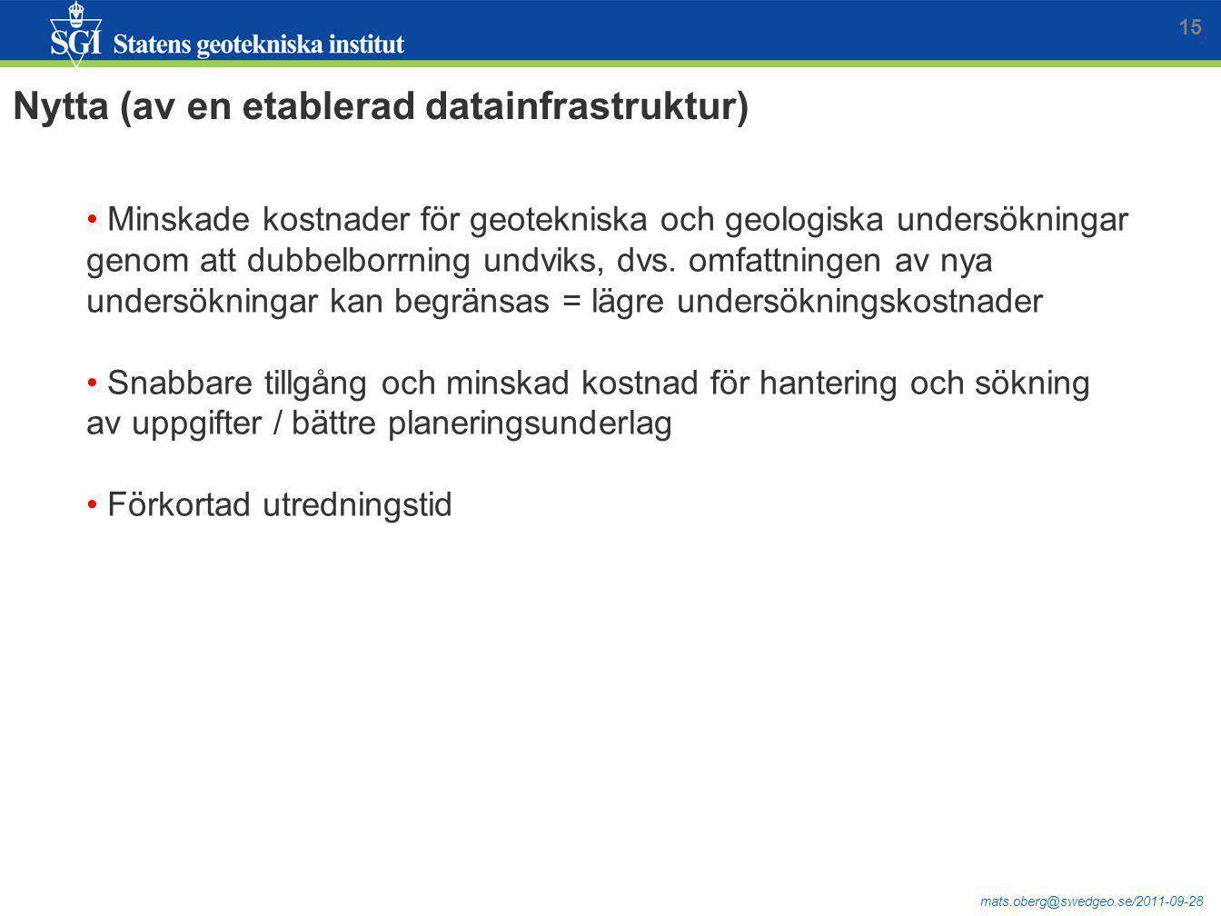 mats.oberg@swedgeo.se/2011-09-28 15 Minskade kostnader för geotekniska och geologiska undersökningar genom att dubbelborrning undviks, dvs. omfattning