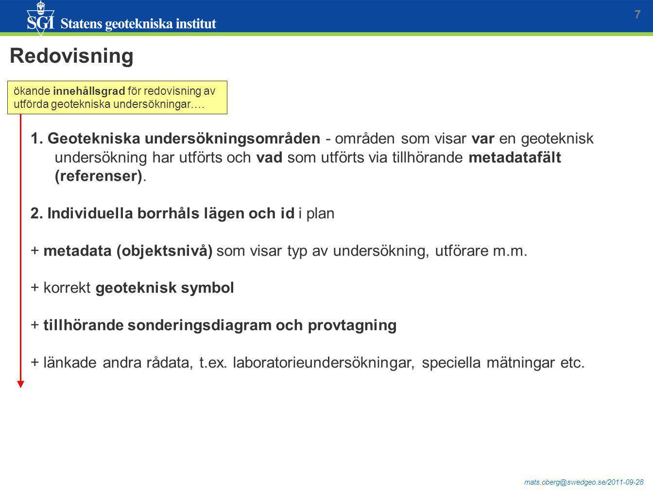 mats.oberg@swedgeo.se/2011-09-28 Redovisning 7 1. Geotekniska undersökningsområden - områden som visar var en geoteknisk undersökning har utförts och