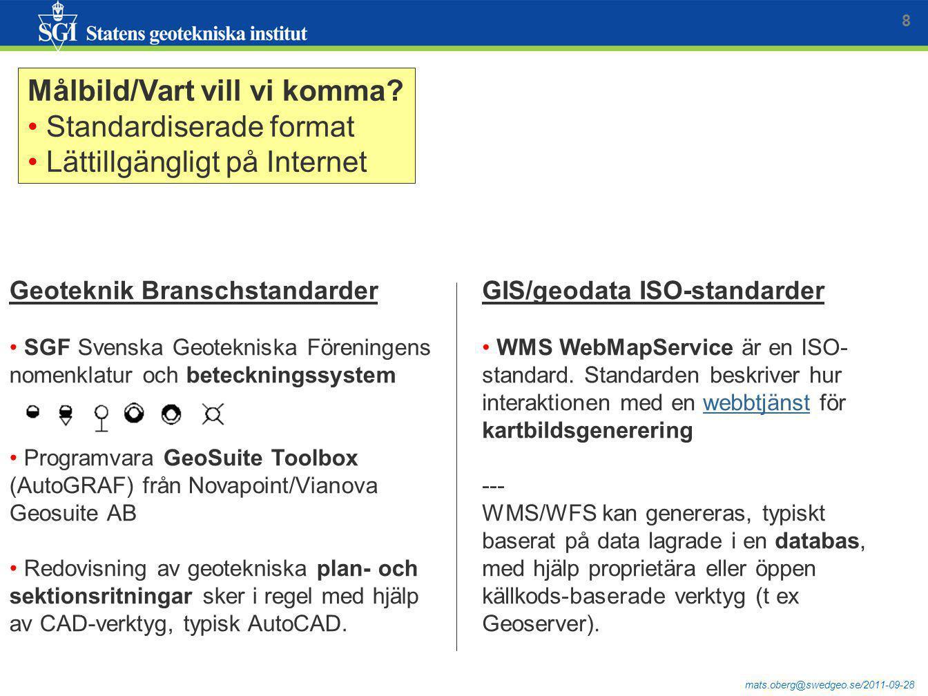mats.oberg@swedgeo.se/2011-09-28 GIS/geodata ISO-standarder WMS WebMapService är en ISO- standard. Standarden beskriver hur interaktionen med en webbt
