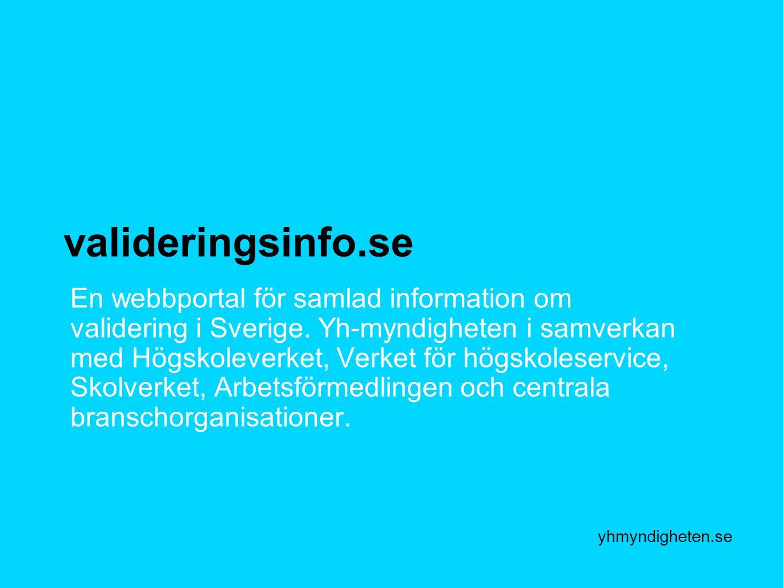 yhmyndigheten.se valideringsinfo.se En webbportal för samlad information om validering i Sverige. Yh-myndigheten i samverkan med Högskoleverket, Verke