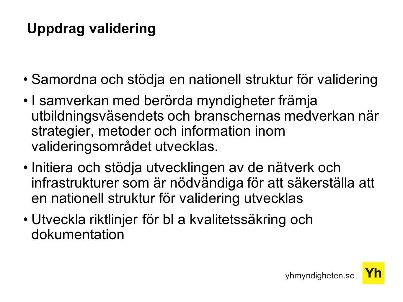 yhmyndigheten.se Uppdrag validering Samordna och stödja en nationell struktur för validering I samverkan med berörda myndigheter främja utbildningsväs