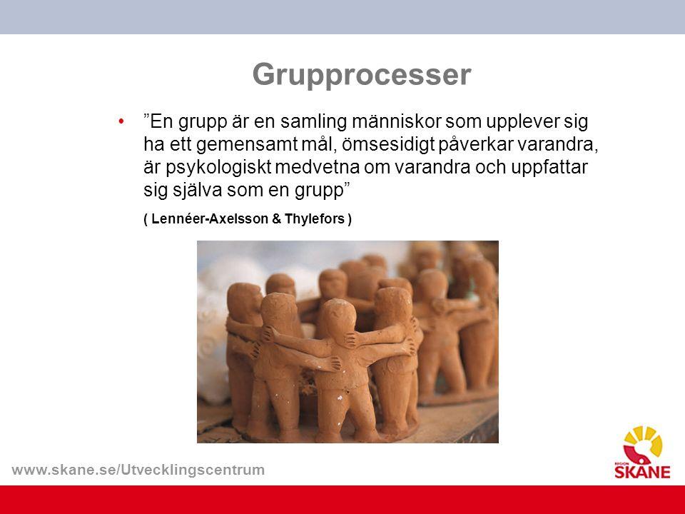 """www.skane.se/Utvecklingscentrum Grupprocesser """"En grupp är en samling människor som upplever sig ha ett gemensamt mål, ömsesidigt påverkar varandra, ä"""