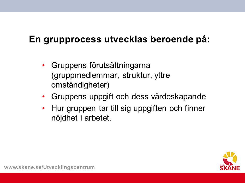 www.skane.se/Utvecklingscentrum En grupprocess utvecklas beroende på: Gruppens förutsättningarna (gruppmedlemmar, struktur, yttre omständigheter) Grup