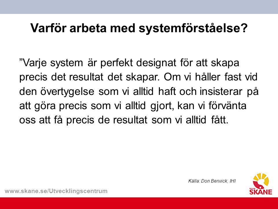 """www.skane.se/Utvecklingscentrum """"Varje system är perfekt designat för att skapa precis det resultat det skapar. Om vi håller fast vid den övertygelse"""