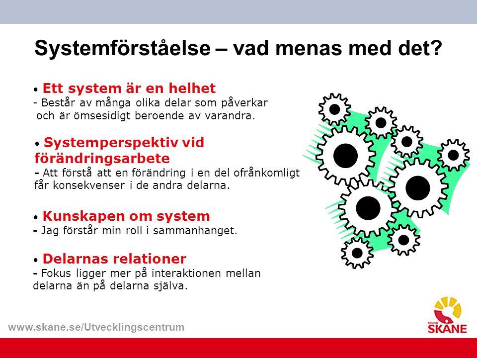 www.skane.se/Utvecklingscentrum Systemförståelse – vad menas med det? Ett system är en helhet - Består av många olika delar som påverkar och är ömsesi