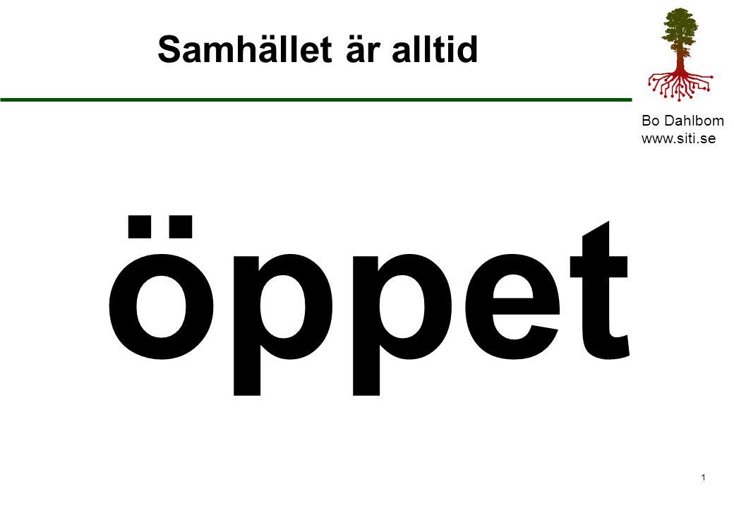 Bo Dahlbom www.siti.se 1 Samhället är alltid öppet