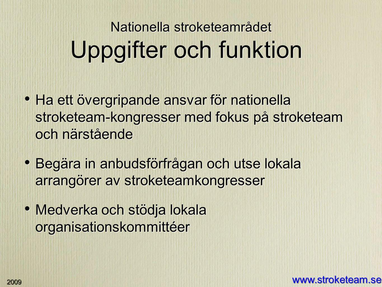 Nationella stroketeamrådet Uppgifter och funktion Ha ett övergripande ansvar för nationella stroketeam-kongresser med fokus på stroketeam och närståen